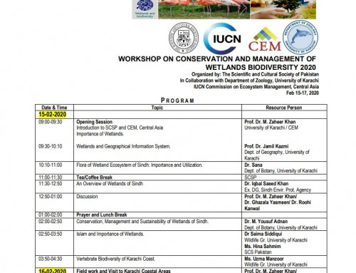Workshop on Conservation and Management of Wetlands Biodiversity 2020 Karachi Pakistan